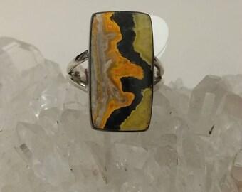 Amazing BumbleBee Jasper Ring,  Size 7