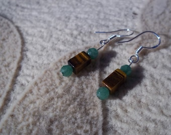 Tiger Eye Aventurine Sterling Silver Earrings, Health and Wealth, Healing Stone, Gemstone Synergy