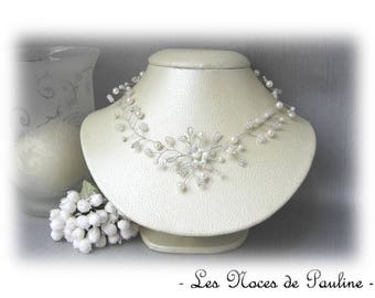 Celia collection 'Twist' v2a pearly white wedding necklace