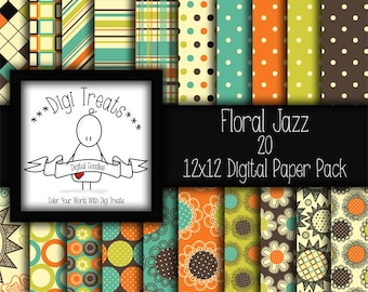 "30% OFF~Floral Jazz, digital scrapbook paper pack. 12""x12"" (jpeg) digital papers, backgrounds ~ ***instant download***"