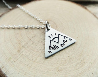 Sunrise Mountain Triangle Pendant- Stamped Outdoor Enthusiast Hiker Climber Pendant- Rocky Mountain Scene Stamped Aluminum
