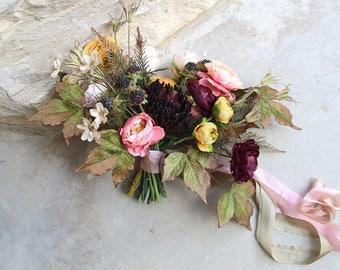 Boho Garden Silk Wedding Bouquet and Boutonniere Set | Mustard, Eggplant and Light Coral Pink | Garden Style Bridal Bouquet | SG-1069