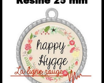 Round Cabochon pendant 25 mm epoxy resin - happy hygge (2127) - text, Word, zen