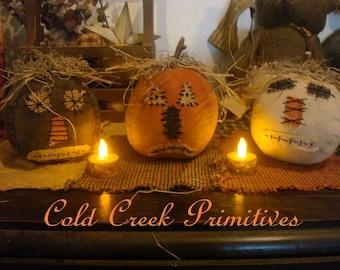 Primitive Folk Art Pumpkins Set of 3