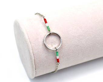 Circle silver metal with green/white/red Miyuki Beads Bracelet