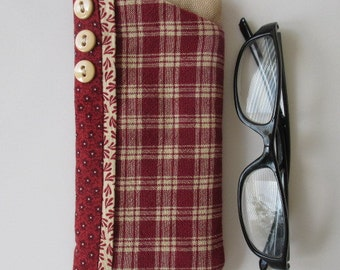 Eyeglass Case/ Eye Glass Case/Eyeglass Holder Red and Cream Plaid with 3 Cream Buttons