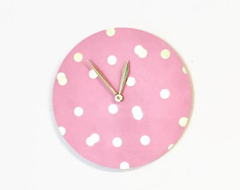 Wood Wall Clock, Baby Pink Nursery Decor, Wall Clocks, Gold and Pink Art