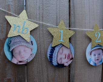 Gold or Silver Twinkle Twinkle Little Star Boy First Birthday Banner Star One Year Banner Blue and Gold Star 12 Month Photo Banner
