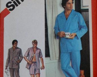 Simplicity 6381 Mens Vintage Pajamas Sewing Pattern Size 34, 36