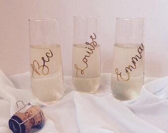 Stemless Champagne Flutes   Wedding Glasses   Bridal Party Glasses   Bridesmaids champagne glass   Engagement Flutes   Bride and Groom