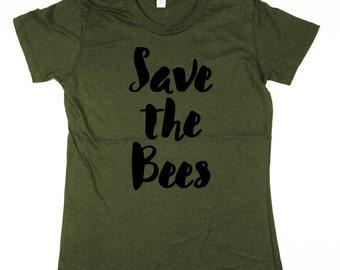 Bees T-shirt - Womens Save the Bees Shirt - bumble bee, honey bee, womens, ladies, Moss, Brown, Navy, Small, Medium, Large, XL, 2XL