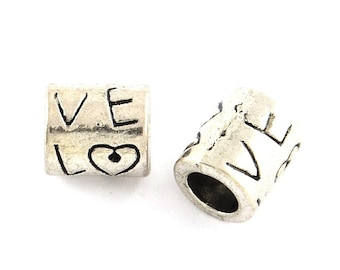 Large Hole Love Beads, Barrell Beads, Antique Silver Metal Beads, 8x9mm, 5mm Extra Large Hole, Lead Free, Lot Size 16 to 40, #1559 BH