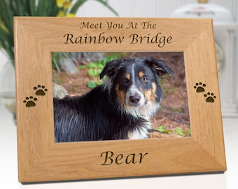 FREE SHIPPING - Rainbow Bridge Engraved Wooden Picture Frame - Personalized With Name & Date - Free Sympathy Card - Fast Ship