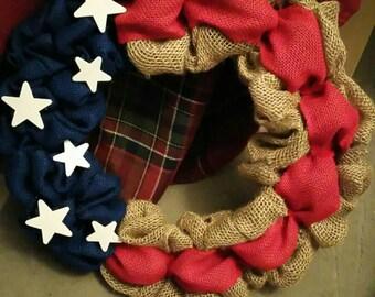 Patriotic Burlap Wreath, Red White Blue