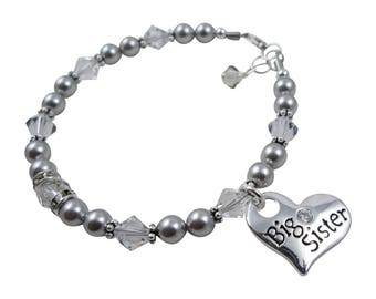 Big Sister Bracelet - Silver and Crystal Big Sister Heart Charm Rhinestone Pearl, Jewelry Gift for Children in all sizes