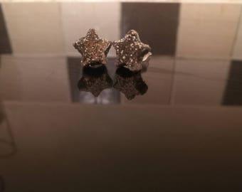 Silver glitter star earrings - plastic stems and backs handmade