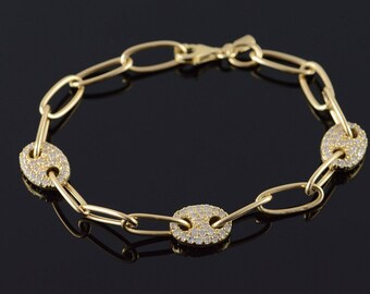 "14k Heavy Oval Link X CTW White CZ Encrusted Bracelet Gold 8"""