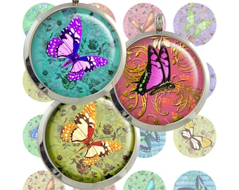 Butterfly  Digital Collage Sheet  1inch/1.25inch/1.5inch  size Circle Images Printable Download for pendants bottlecaps magnets