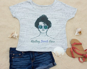 Resting Beach Face, Beach Slouchy Scoop Neck Women's T-Shirt, Ocean, Vacation, Travel, Gift for Women, Gift for Her, Aesthetic Clothing