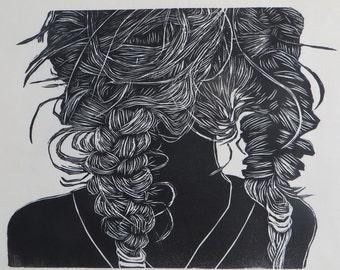 Woodblock print: After the Swim