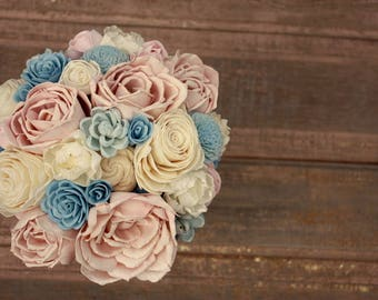 Sola flower bouquet, brides wood flower bouquet, wooden flowers, dusty blue, blush pink wedding flowers, rustic blue bouquet, eco flowers