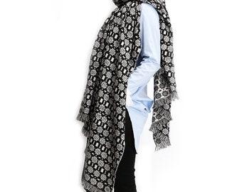 Large Jacquard black and white pure wool warp shawl blanket scarf