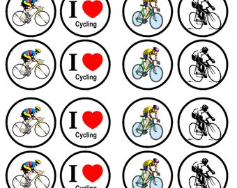 Cycling Edible Wafer Rice Paper Cake Cupcake Toppers x 24 PRECUT