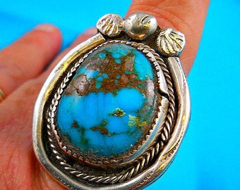 Native American Huge Pawn Turquoise Sterling Silver Ring