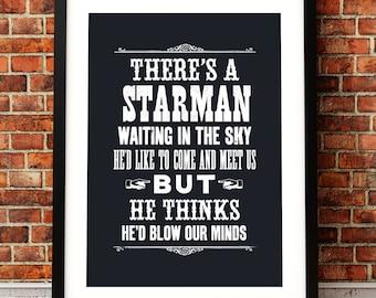 David Bowie song lyric art, David Bowie art print, music inspired print, typographic print, Starman, David Bowie poster