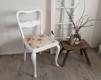 Antique Chair, upholstered chair, white, shabby, roses