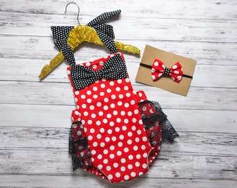 Baby Girl Bow Romper, red and white polka dot romper, red and black bow romper, black and red romper, red polka dot bow outfit