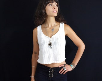 RESERVED - Vintage 80's Pictures of Lilly White Cotton Knit Crop Tank Top With Abalone Shell Buttons Boho Hippie Festival Folk