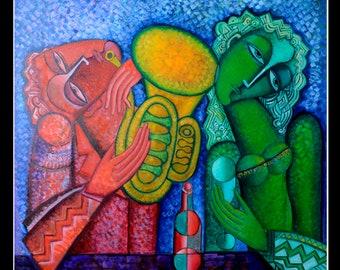 "FAMILY ART textured cubist  art  free Shipping  Original large artwork.""Lovers"". Large  Size 3.7x3.7 x 0.19  feet  (112 x 112 x 6 cm)"