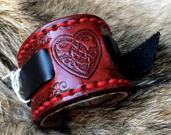 Deluxe Celtic Wristband with Heart Red