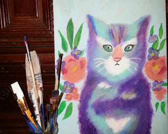 Purple Cat Painting on Recycled Wood