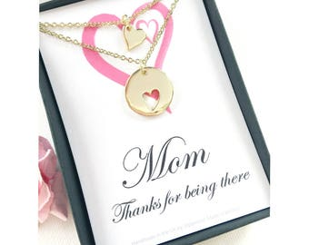 Mother daughter necklace, message card, heart cutout necklace for mother and daughter bonding jewelry, gift for mother, mom gift,