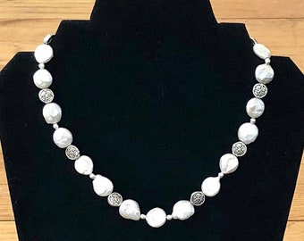 Freshwater Pearl Necklace Wedding Necklace Pearl Bridal Necklace Bridal Pearl Necklace Elegant Pearl Necklace Anniversary Gift Wife