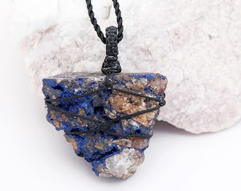 Rough Azurite Jewelry, Raw Stone Pendant, Mineral Necklace, Rock Pendant, Chunky Jewelry, Azurite Necklace, Men, Women, Gift From Nature.