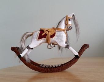 Handmade miniature dolls house rocking horse 1.12 scale