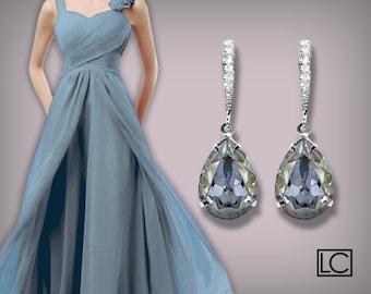 Blue Shade Crystal Earrings Swarovski Rhinestones Blue Earrings Silver Dusty Blue Bridesmaids Earrings Teardrop Earrings Wedding Jewelry