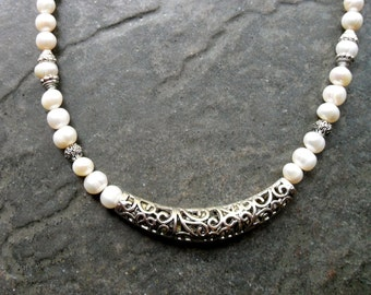 Freshwater pearl and filigree necklace with genuine freshwater pearls large silver filigree bar bead toggle clasp
