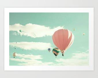 Girl nursery decor girl, hot air balloon nursery, nursery wall art girl, toddler girl room decor, mint, pink, coral, nursery print turquoise