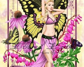 Butterfly Fairy Pink Beauty Swallowtail Wings - Fantasy Fine Art Print