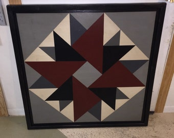 PRiMiTiVe Hand-Painted Barn Quilt - 3' x 3' Double Aster Pattern (Gray Version)