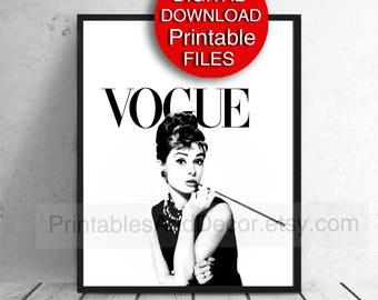 Printable Vogue Print Audrey Hepburn Fashion Wall Art Poster Breakfast at Tiffany's 8x10 16x20 24x36 A4 A3