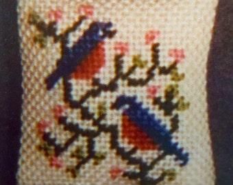 Miniature Pillow Petit Point Kit ~ Eastern Bluebirds ~ Birds ~ Needlepoint ~ Dollhouse ~ Miniature ~ Fairy Garden ~ Kit ~ Miniature Pillow