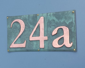 """Copper House Sign  plaque in Serif font, 3""""/75mm, 4""""/100mm high, polished and laquered, 3 x numbers g"""