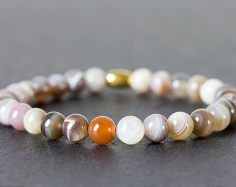 Agate bracelet, Botswana Agate, Botswana bracelet, beaded bracelet, agate fancy bracelet, mens bracelet, womens bracelet, 6mm.