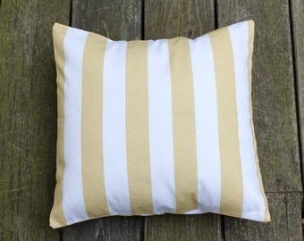 Mustard Yellow and White Beach Stripe Pillow Cover- Mustard Yellow and White Decorative Couch Pillow 16x16- Ready to Ship