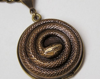 Steampunk Little Coiled SNAKE LOCKET, Necklace Pendant
